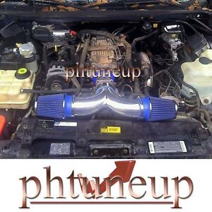 BLUE 1994-1996 CADILLAC FLEETWOOD 4.3L, 5.7L V8 DUAL AIR INTAKE KIT