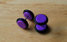Purple barbell fake plug tunnel streacher single earring acrylic rubber 8 MM