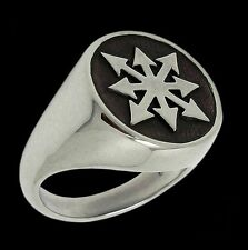 925 Sterling Silver Chaos Ring All Sizes Chaos Symbol - Chaos Star Biker Jewelry
