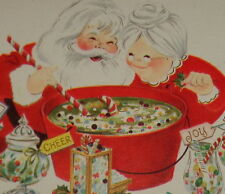 """UNUSED Vintage Christmas card,Santa and Mrs Claus making Christmas candy, 7 1/4"""""""