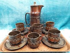 Vintage Sylvac 13 piece tea set. On trend, 'Totum' design. Rustic brown....