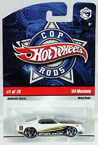 Hot Wheels '69 Mustang Cop Rods #N8993 Never Removed from Pack 2008 White 1:64