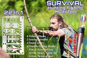 Fishing Hunting Survival Multitool Hooks Snare Locks Needles Arrow Saw