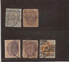 Denmark-1870s- 5 used stamps, bit better
