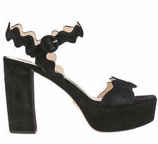 41020c5739 Prada Original sandali donna ladies size 37.5 camoscio suede nero black