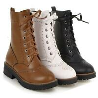 Womens Lace Up Combat Punk Boots Round Toe Block Chunky Heels Motorcycle Shoes