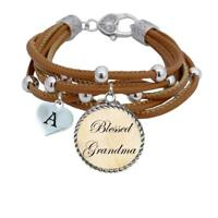 Custom Blessed Grandma Multi Line Brown Leather Bracelet Jewelry Choose Initial