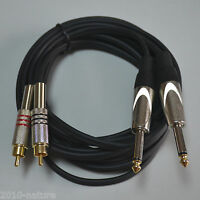20ft 1/4 in TS to RCA male connector Stereo Interconnect Dual Audio Cable,New