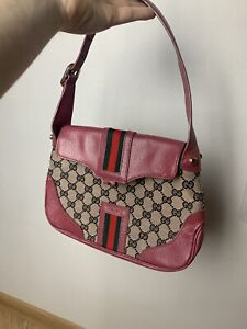 Gucci Pink Authentic Canvas And Leather Small Bag