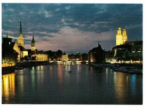 Zürich: City at Night, Switzerland Rare Picture Postcard