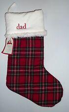 "NEW Pottery Barn KIDS Tartan Plaid Christmas Stocking, MONO ""dad"""