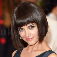 Womens Short Bob Style With Fringe European Remy Human Hair Full Wigs Dark Brown