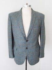 VGC Vtg 60s Rat Pack Blue Brown Plaid Wool Tweed Blazer Preppy Sport Jacket 40S