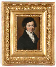 """Portrait of a Young Gentleman"", French School, 1822, Small Oil on Panel"