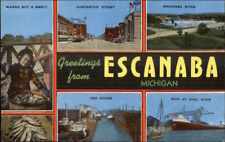 Escanaba MI Large Letter Greetings Multi-View Postcard