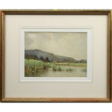 Old Framed Landscape Watercolour Painting Sheep Farming Miller Smith RBA 1915