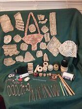Vintage Crochet Hooks (27) , Thread, Handmade Lace Items, Baby Bonnet, Pins