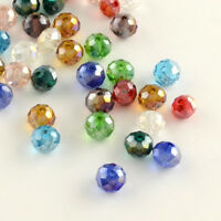 1mm Hole Cream Color Plated 4x3mm Electroplate Opaque Glass Faceted Beads