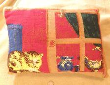 Pillow Vintage CAT on a WINDOWSILL Needlepoint TAPESTRY throw sofa Chintz Back