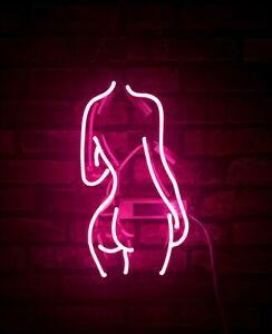 "14""x9""Pink Lady's Neon Sign Light Tiki Bar Wall Hanging Visual Art Nightlight"