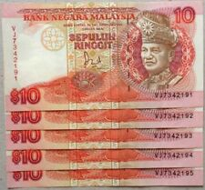 RM10 Jaffar Hussein sign Note 5 pcs Running Number Note VJ 7342191 - 195