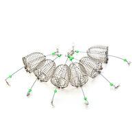 Pequeño cebo jaula pesca trampa cesta alimentador soporte acero inoxida*ws