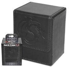 Black Leatherette Deck Box Plus 80 Black Deck Guard Sleeves Protector  MTG