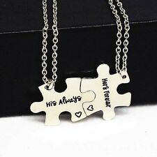 2pc Couple Puzzle Piece Matching Necklace Set His Always Hers Forever Connecting