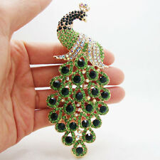 Elegant Peacock Bird Gold-tone Brooch Pin Pendant Green Rhinestone Crystal