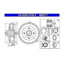 2 St. ATE 24.0220-3729.2 Bremstrommel   Peugeot 206 206 SW 1007 206 Stufenheck