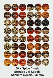 50 x Spice And Herb Jar Labels Stickers Decals - 30mm round