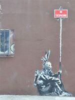 PRINT PHOTO GRAFFITI STREET BANKSY NO TRESPASSING NATIVE AMERICAN NYC NOFL0375