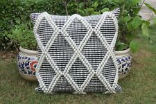 Handwoven 20 X 20 Cotton Cushion Cover Rustic Rug Pillow Cover