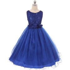 ROYAL BLUE Flower Girl Dress Party Formal Dance Wedding Brithday Graduation Prom