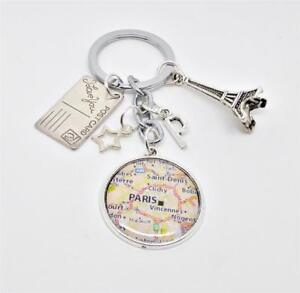 Paris Keychain, Eiffel Tower, Paris Map Keychain, Travellers Keyring, Honeymoon
