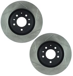 Pair Set of 2 Front Stoptech Slotted Disc Brake Rotors for Mazda RX-8 Sport Susp