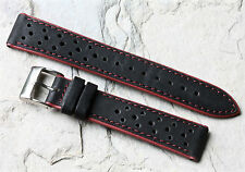 Red Stripes black leather perforated 18mm rally watch band black & red accents