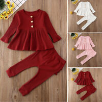 2PCS Toddler Baby Girls Autumn Winter Clothes Set Tops Ruffle Pants Outfits