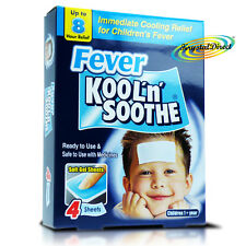 Kool 'n' Soothe Soft Gel Children Kids Fever Immediate Cooling Relief 4 Sheets