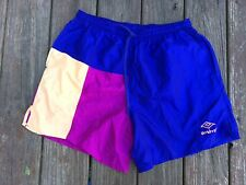 Vintage Umbro Checkered Soccer Shorts Nylon Satin Silky Large L Colorblock USA