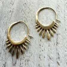 Vintage Tribal Brass Earrings Flower of Life Gypsy Hoop lotus Jewelry Indian M21