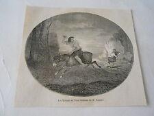 Les Voleurs et l'Ane d'après Beaume Antique Old Print 1861