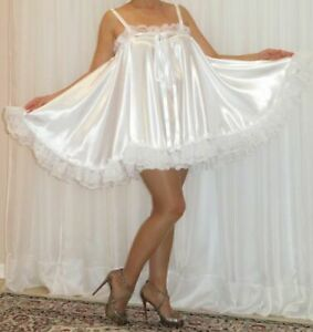 VTG Lingerie Silky Satin Slip FULL Sweep Negligee Babydoll Sexy Nightgown M-6X