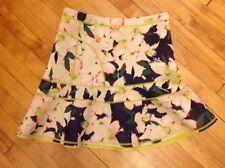 J. Crew White & Blue Floral Neoprene Flare Skirt, Size 8