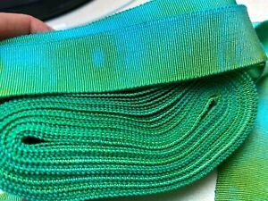 "Vintage Cotton Rayon 7/8"" Petersham Ribbon Verdigris 1yd Made in France"