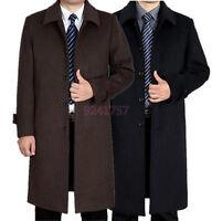 Herren Wolle Kaschmir-Mantel Wollmantel langen Mantel Wintermantel Gr:XS-2XL