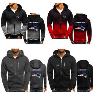 New England Patriots Hoodie Hooded Full Zip Sweatshirt Casual Jacket Fleece Coat
