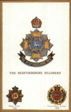 UK British Military Badge Crest Heraldic Postcard BEDFORDSHIRE REGIMENT