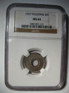 1927 PALESTINE 5 Mils NGC MS64
