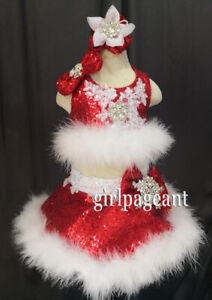 Infant Toddler Baby Girl's Glitz Sequins Furs Pageant Dress  G511